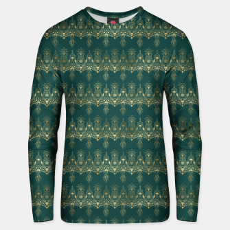Miniatur Teal and Gold Vintage Art Deco Damask Border Pattern Unisex sweater, Live Heroes
