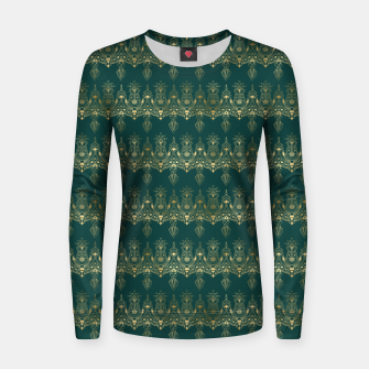 Miniatur Teal and Gold Vintage Art Deco Damask Border Pattern Women sweater, Live Heroes