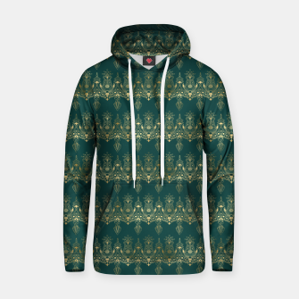 Miniatur Teal and Gold Vintage Art Deco Damask Border Pattern Hoodie, Live Heroes