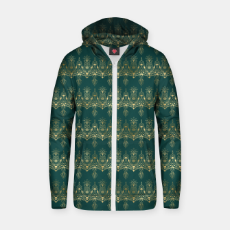 Miniatur Teal and Gold Vintage Art Deco Damask Border Pattern Zip up hoodie, Live Heroes
