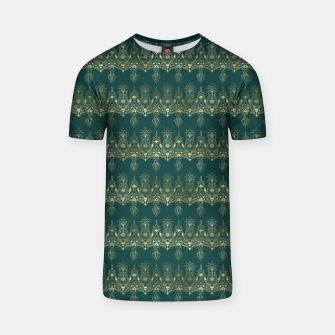 Miniatur Teal and Gold Vintage Art Deco Damask Border Pattern T-shirt, Live Heroes