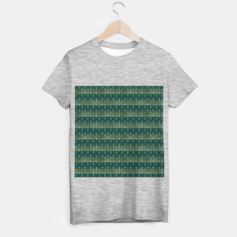 Miniatur Teal and Gold Vintage Art Deco Damask Border Pattern T-shirt regular, Live Heroes