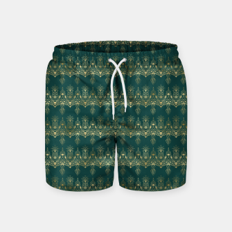 Miniatur Teal and Gold Vintage Art Deco Damask Border Pattern Swim Shorts, Live Heroes