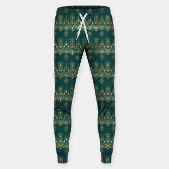Miniatur Teal and Gold Vintage Art Deco Damask Border Pattern Sweatpants, Live Heroes