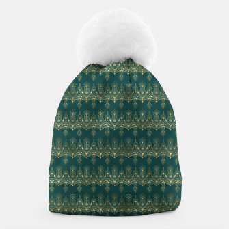Miniatur Teal and Gold Vintage Art Deco Damask Border Pattern Beanie, Live Heroes