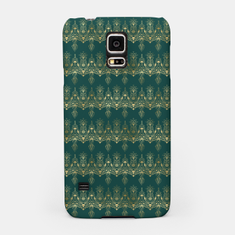 Miniatur Teal and Gold Vintage Art Deco Damask Border Pattern Samsung Case, Live Heroes