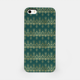 Miniatur Teal and Gold Vintage Art Deco Damask Border Pattern iPhone Case, Live Heroes