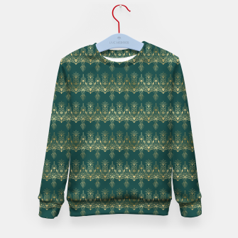 Miniatur Teal and Gold Vintage Art Deco Damask Border Pattern Kid's sweater, Live Heroes