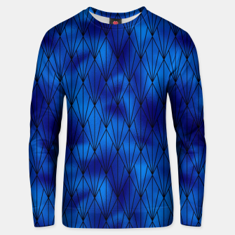 Black and Classic Blue Faux Foil Vintage Fan Art Deco Pattern Unisex sweater obraz miniatury