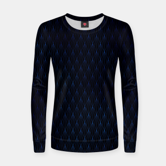 Black and Classic Blue Foil Vintage Fan Art Deco Pattern Women sweater obraz miniatury