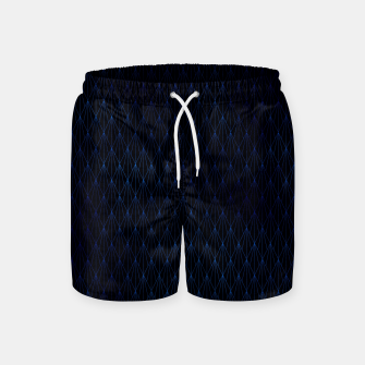 Black and Classic Blue Foil Vintage Fan Art Deco Pattern Swim Shorts obraz miniatury