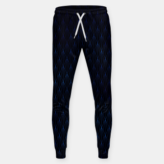 Black and Classic Blue Foil Vintage Fan Art Deco Pattern Sweatpants obraz miniatury