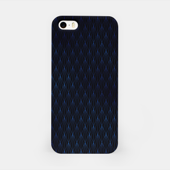 Black and Classic Blue Foil Vintage Fan Art Deco Pattern iPhone Case obraz miniatury