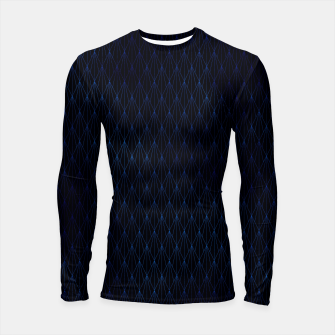 Black and Classic Blue Foil Vintage Fan Art Deco Pattern Longsleeve rashguard  obraz miniatury