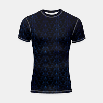 Black and Classic Blue Foil Vintage Fan Art Deco Pattern Shortsleeve rashguard obraz miniatury