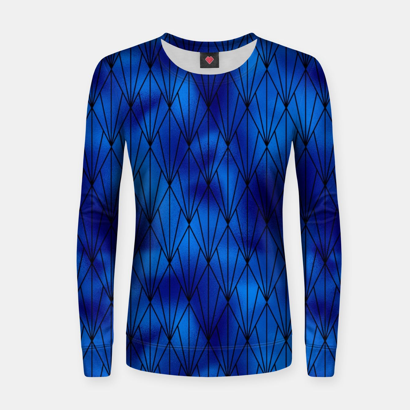 Zdjęcie Black and Classic Blue Faux Foil Vintage Fan Art Deco Pattern Women sweater - Live Heroes