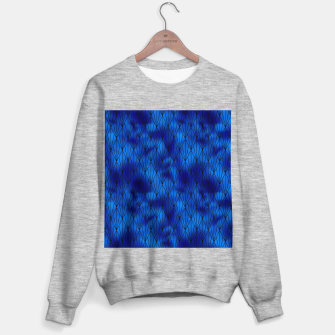 Black and Classic Blue Faux Foil Vintage Fan Art Deco Pattern Sweater regular obraz miniatury