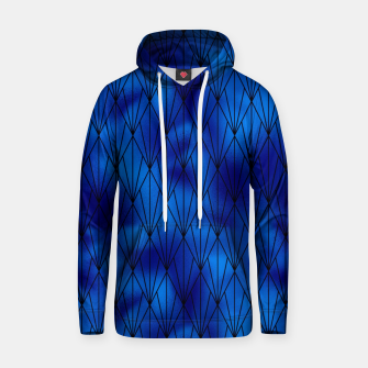 Black and Classic Blue Faux Foil Vintage Fan Art Deco Pattern Hoodie obraz miniatury
