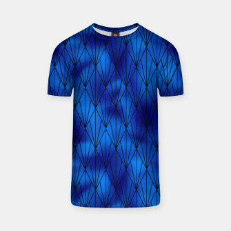 Black and Classic Blue Faux Foil Vintage Fan Art Deco Pattern T-shirt obraz miniatury