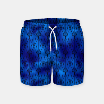 Black and Classic Blue Faux Foil Vintage Fan Art Deco Pattern Swim Shorts obraz miniatury