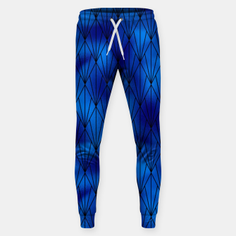 Black and Classic Blue Faux Foil Vintage Fan Art Deco Pattern Sweatpants obraz miniatury