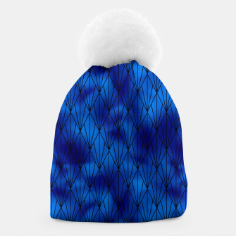 Black and Classic Blue Faux Foil Vintage Fan Art Deco Pattern Beanie obraz miniatury