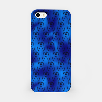 Black and Classic Blue Faux Foil Vintage Fan Art Deco Pattern iPhone Case obraz miniatury