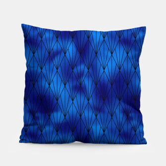 Black and Classic Blue Faux Foil Vintage Fan Art Deco Pattern Pillow obraz miniatury