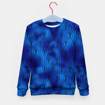 Black and Classic Blue Faux Foil Vintage Fan Art Deco Pattern Kid's sweater obraz miniatury
