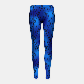 Black and Classic Blue Faux Foil Vintage Fan Art Deco Pattern Girl's leggings obraz miniatury