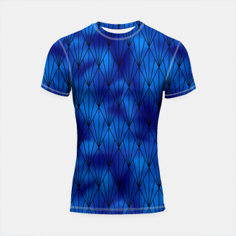 Black and Classic Blue Faux Foil Vintage Fan Art Deco Pattern Shortsleeve rashguard obraz miniatury