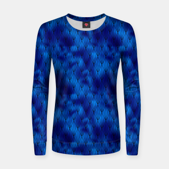Black and Classic Blue Faux Foil Vintage Fan Art Deco Pattern Women sweater obraz miniatury