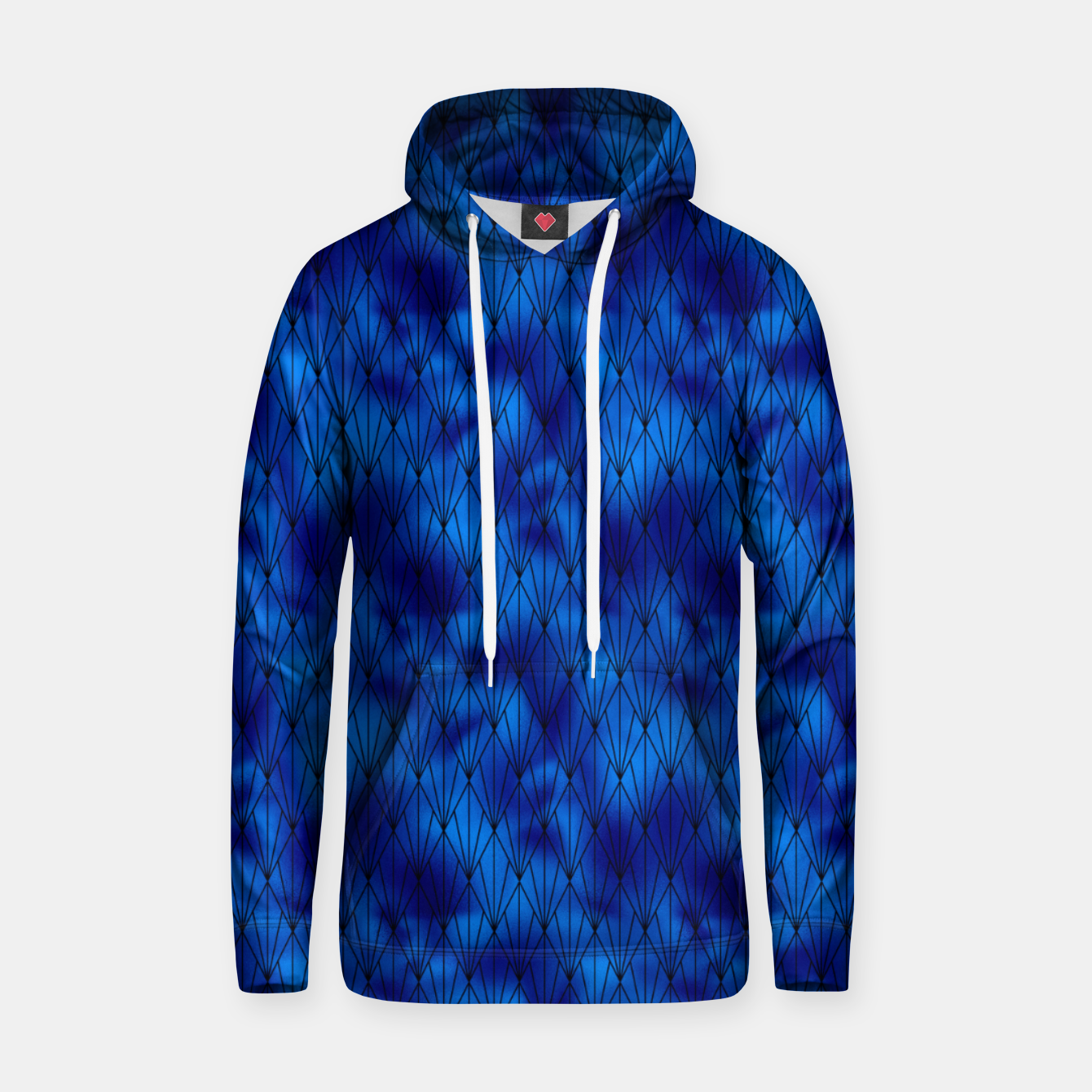 Zdjęcie Black and Classic Blue Faux Foil Vintage Fan Art Deco Pattern Hoodie - Live Heroes