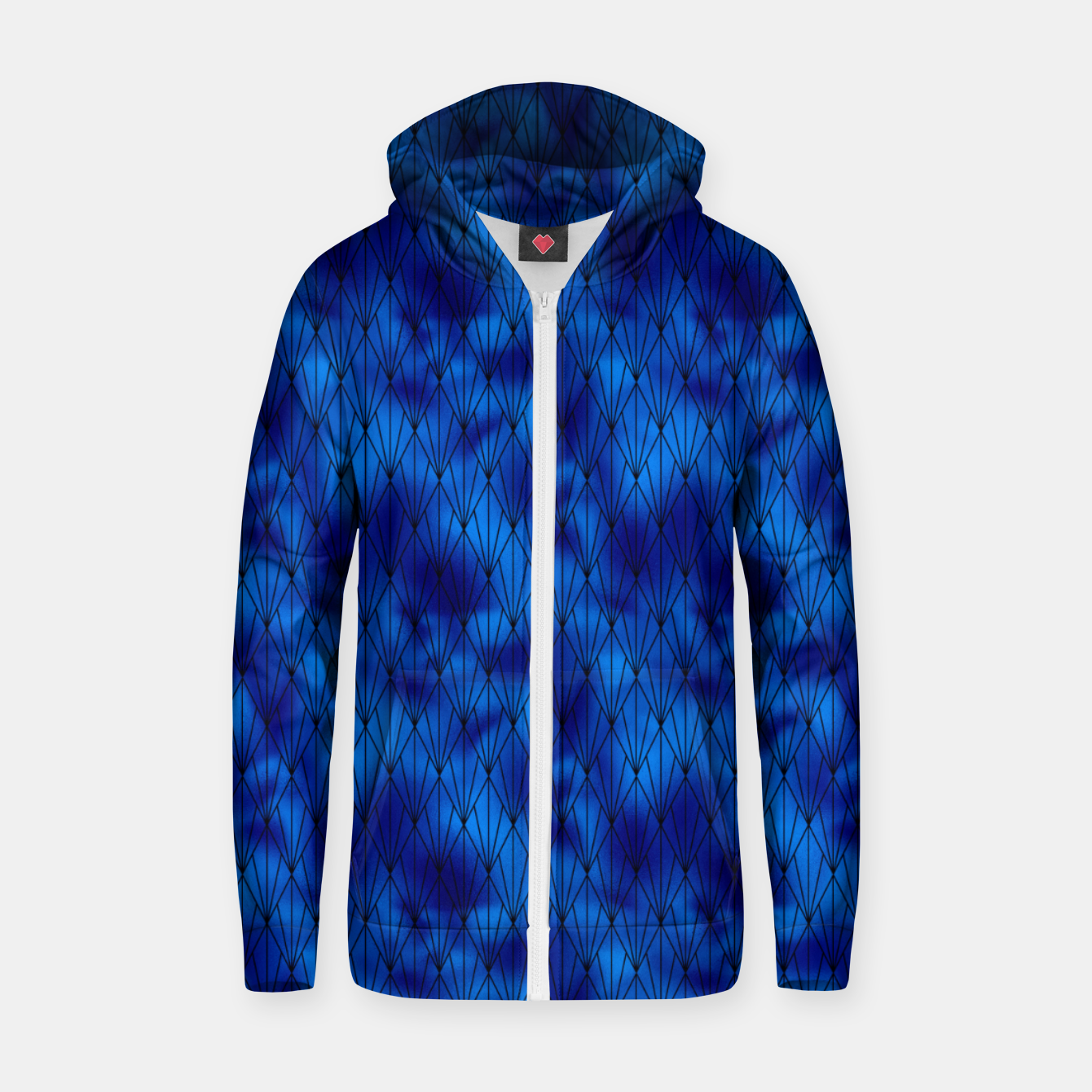 Zdjęcie Black and Classic Blue Faux Foil Vintage Fan Art Deco Pattern Zip up hoodie - Live Heroes