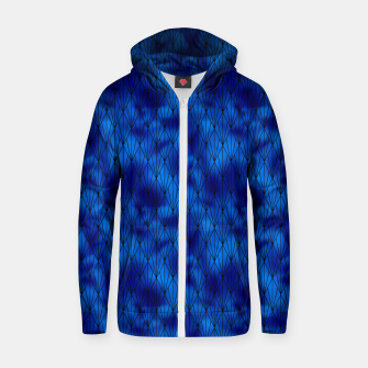 Black and Classic Blue Faux Foil Vintage Fan Art Deco Pattern Zip up hoodie obraz miniatury