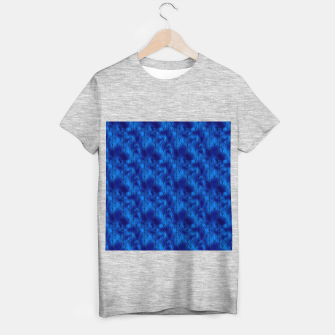 Black and Classic Blue Faux Foil Vintage Fan Art Deco Pattern T-shirt regular obraz miniatury