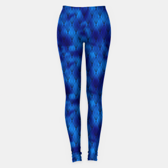 Black and Classic Blue Faux Foil Vintage Fan Art Deco Pattern Leggings obraz miniatury
