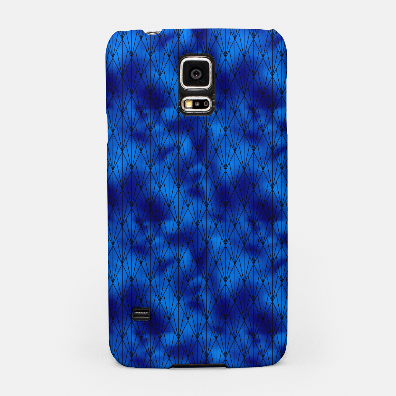Zdjęcie Black and Classic Blue Faux Foil Vintage Fan Art Deco Pattern Samsung Case - Live Heroes