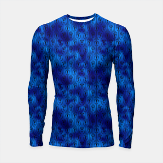 Black and Classic Blue Faux Foil Vintage Fan Art Deco Pattern Longsleeve rashguard  obraz miniatury