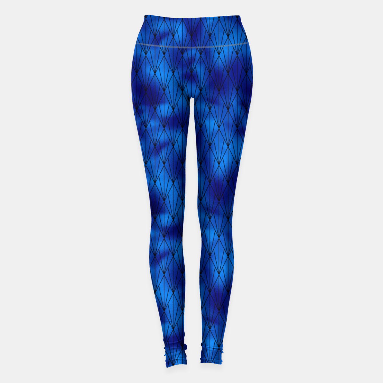 Zdjęcie Black and Classic Blue Faux Foil Vintage Fan Art Deco Pattern Leggings - Live Heroes
