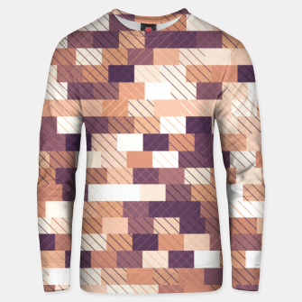 Miniaturka Solid brick wall with diagonal crossed lines, redwod and eggplant colored print Unisex sweater, Live Heroes