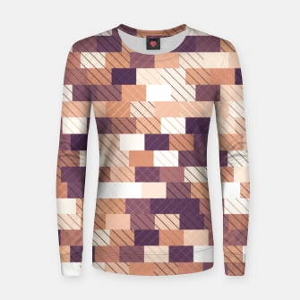 Miniaturka Solid brick wall with diagonal crossed lines, redwod and eggplant colored print Women sweater, Live Heroes