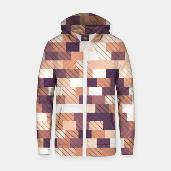 Miniaturka Solid brick wall with diagonal crossed lines, redwod and eggplant colored print Zip up hoodie, Live Heroes
