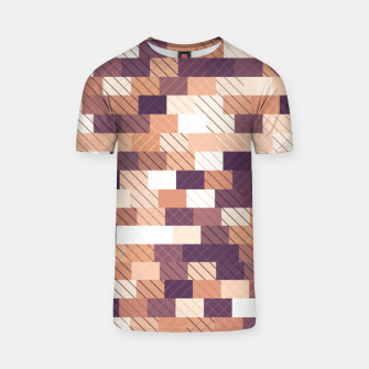 Miniaturka Solid brick wall with diagonal crossed lines, redwod and eggplant colored print T-shirt, Live Heroes