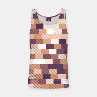 Miniaturka Solid brick wall with diagonal crossed lines, redwod and eggplant colored print Tank Top, Live Heroes