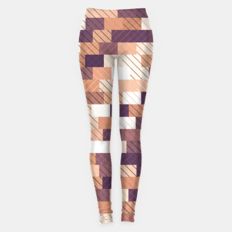 Miniaturka Solid brick wall with diagonal crossed lines, redwod and eggplant colored print Leggings, Live Heroes