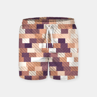Miniaturka Solid brick wall with diagonal crossed lines, redwod and eggplant colored print Swim Shorts, Live Heroes