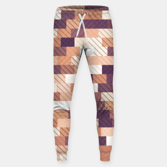 Thumbnail image of Solid brick wall with diagonal crossed lines, redwod and eggplant colored print Sweatpants, Live Heroes