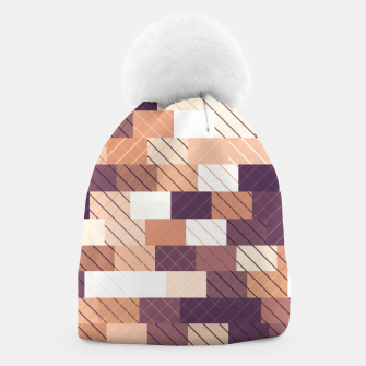 Miniaturka Solid brick wall with diagonal crossed lines, redwod and eggplant colored print Beanie, Live Heroes