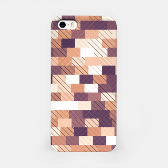 Imagen en miniatura de Solid brick wall with diagonal crossed lines, redwod and eggplant colored print iPhone Case, Live Heroes